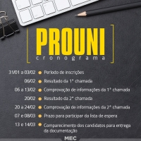 CRONOGRAMA DO PROUNI!